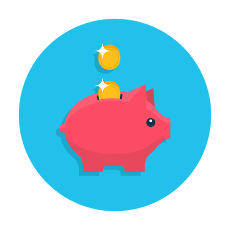 Money box flat icon Illustration