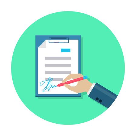 Flat document signing icon