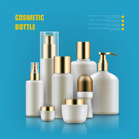 Realistic cocmetic mockup. Package with golden caps for anti-aging creams, cleansers, moisturizers set. Luxury beauty and health concept. Realistic vector illustration on light blue background