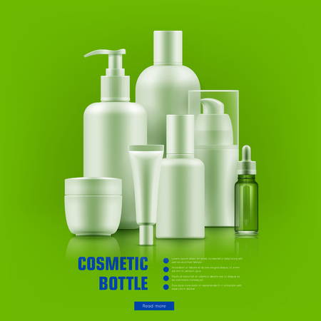 rejuvenation: Cosmetic bottle realistic. Packaging with silver caps mockup for personal care best brands. Medical beauty concept. Realistic vector illustration on green background