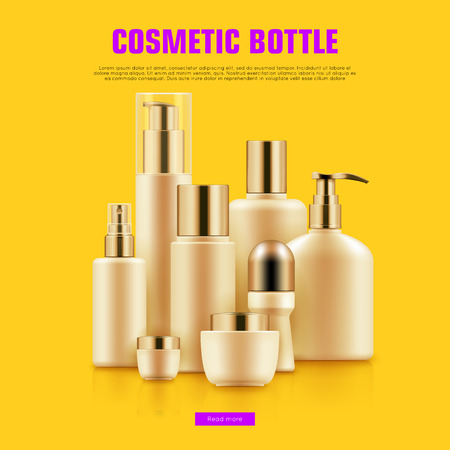 Realistic cocmetic mockup. Package with golden caps for anti-aging creams, cleansers, moisturizers set. Luxury beauty and health concept. Realistic vector illustration on yellow background Illustration