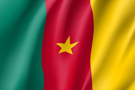 cameroonian: Cameroon realistic flag Illustration