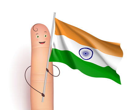 Finger and India waving flag
