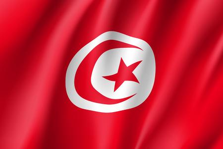 Tunisia realistic flag Illustration