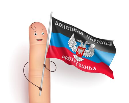 Donetsk Peoples Republic flag. Finger person with pole in hands. European unrecognized and with unlimited recognition state. Vector realistic illustration on white background