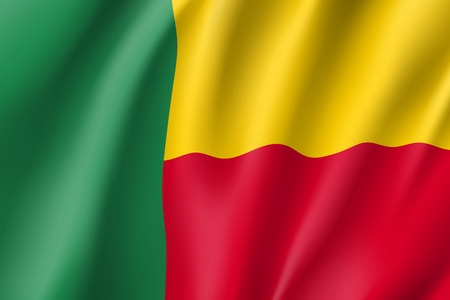 Benin flag. National patriotic symbol in official country colors. Illustration of Africa state waving flag. Realistic vector icon Illustration