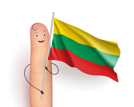 Finger with Lithuania waving flag
