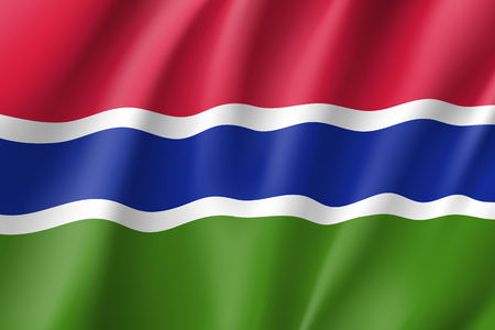 Gambia realistic flag Illustration