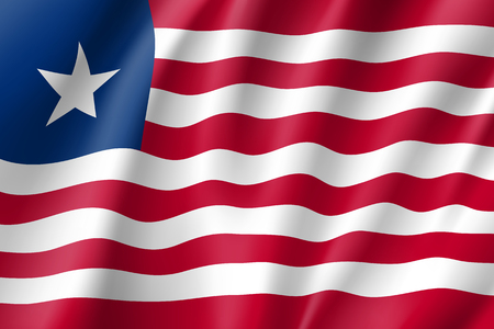national identity: Liberia realistic flag Illustration