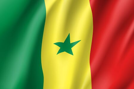 Senegal flag. National patriotic symbol in official country colors. Illustration of Africa state waving flag. Realistic vector icon Stok Fotoğraf - 83829322