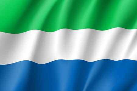 Sierra Leone flag. National patriotic symbol in official country colors. Illustration of Africa state waving flag. Realistic vector icon Illustration