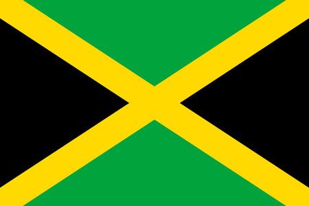 Flaga płaskie ikona Jamajka. Insygnia państwowe kraju w stylu płaskiej na całej stronie. Krajowy symbol w postaci wektorowej ilustraci