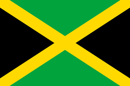 Flag Jamaica flat icon. State insignia of the nation in flat style on the entire page. National symbol in the form of a vector illustration Vettoriali