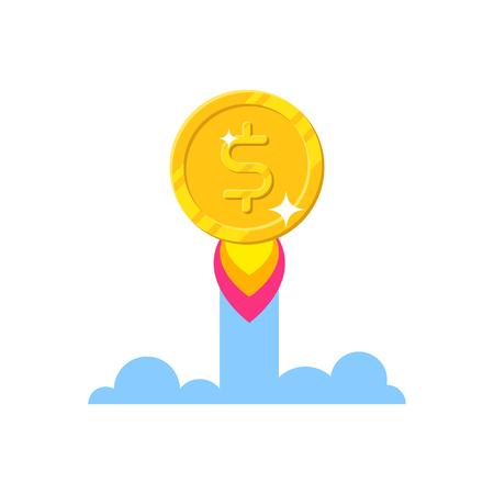 Gold dollar increase cartoon style isolated Illustration