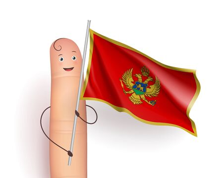 Montenegro waving flag. Happy finger holding pole. Political and Geographical Sciences concept. Realistic vector illustration on white background Illustration