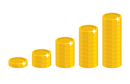Cartoon coin stack. Good financial foundation start, becoming rich. Business success and economy concept. Cartoon vector illustration isolated on white background Illustration