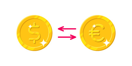 Exchange dollar Euro cartoon style isolated. The exchange of gold coins dollar to Euro for designers and illustrators. Gold pieces conversion in the form of a vector illustration Illustration