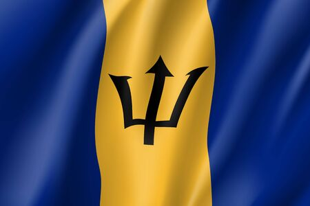 Realistic Barbados flag icon. State insignia of the nation in realistic style on the entire page. Waving state flag. National symbol in the form of a vector illustration Stock Vector - 83870041