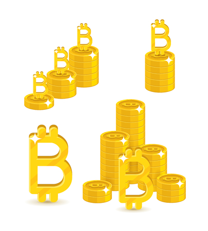 Bitcoin letter stacks set. Virtual currency buying and selling for business partnership. Financial growth concept. Cartoon vector illustration on white background Illustration
