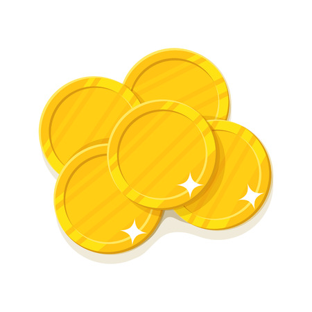 Gold coins cartoon style isolated. Five gold coins for designers and illustrators. A few gold pieces in the form of a vector illustration
