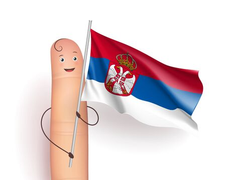 Serbia flag waving. Politics and International Relations concept. Cute finger holding pole. Realistic vector illustration on white background Illustration