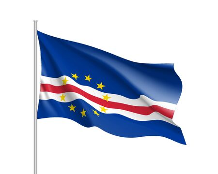 Cape Verde realistic flag Illustration