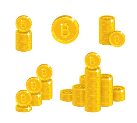 Piles gold bitcoins isolated cartoon set