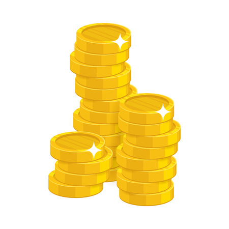 Stack gold coins isolated cartoon Vectores