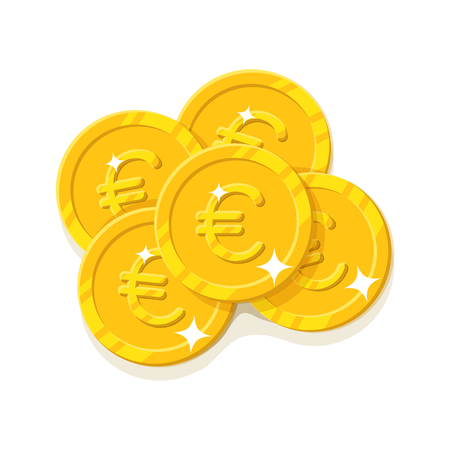 Gold euro coins cartoon style isolated