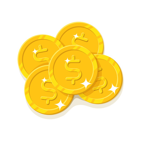 Gold dollars coins cartoon style isolated Illustration