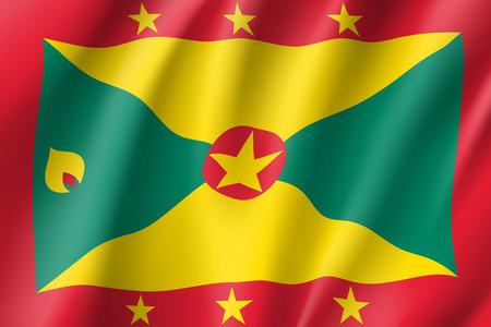 Flag Grenada realistic icon Illustration