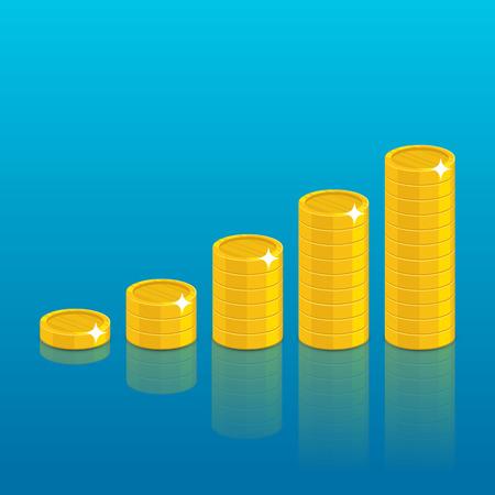 Gold coins piles cartoon style Illustration