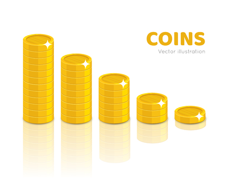 Gold coin piles cartoon style isolated
