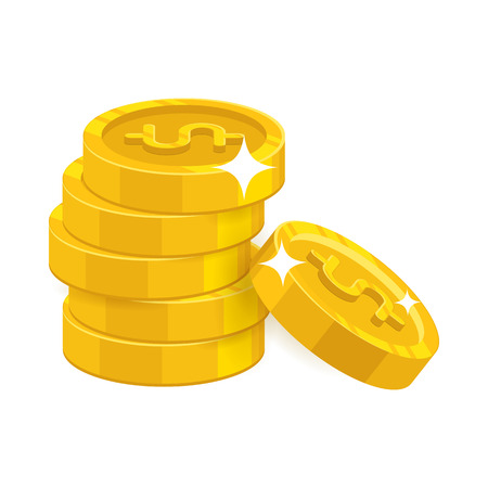 Heap gold coins illustration.