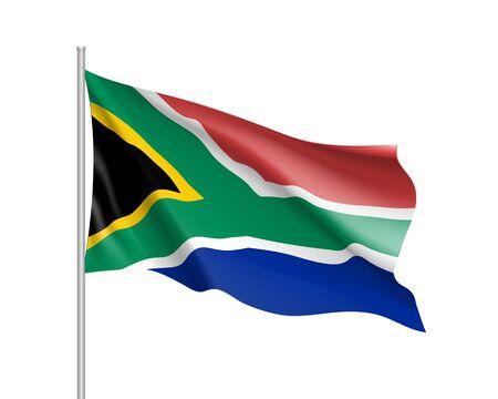 南アフリカ共和国の旗。旗竿に旗を振ってのアフリカの国のイラストです。白い背景に分離された 3 d のアイコンをベクトルします。リアルなイラス