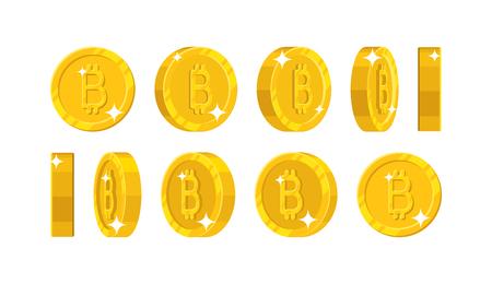 Gold bitcoin views cartoon style isolated illustration. Ilustrace