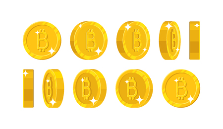 Gold bitcoin views cartoon style isolated illustration. Illustration