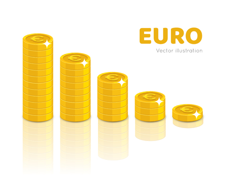Gold euro piles cartoon style isolated. Heaps of gold euro of various heights for designers and illustrators. Stacks of gold pieces in the form of a vector illustration