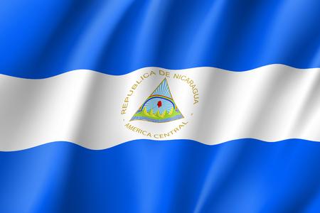 Flag Nicaragua realistic icon