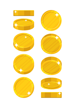 polished: Golden coins in different positions
