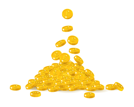 Falling gold pounds cartoon isolated