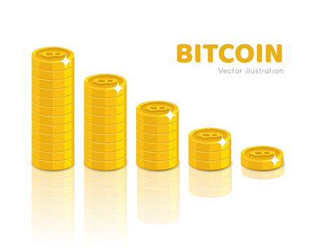 Bitcoin stack set vector illustration.