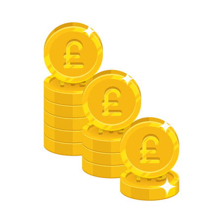 Piles gold pounds isolated cartoon icon Banque d'images - 85346061