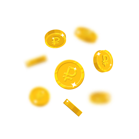 Gold rubles flying cartoon isolated