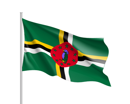 Waving flag of Dominica Illustration