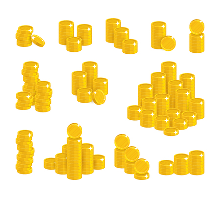 Coins of gold in stacks. Good economic decisions, financial accounting, managing income, wealth. Cartoon vector illustration on white background Ilustrace