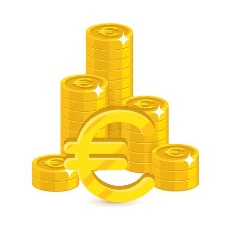 Bunch gold euro isolated cartoon illustration. Illustration