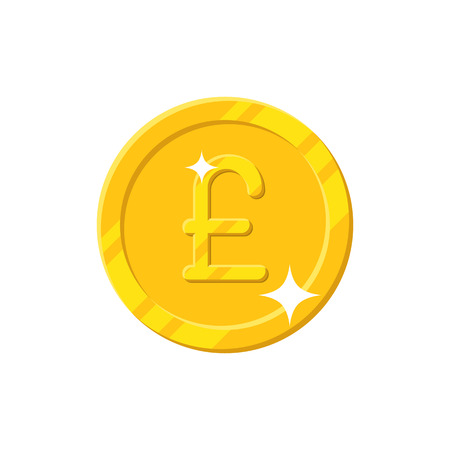 Gold pound coin cartoon style isolated. Shiny gold pound sign for designers and illustrators. Gold piece in the form of a vector illustration