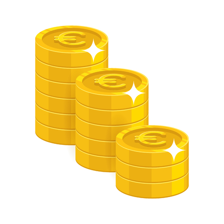 Stacks of Gold euro coins, isolated on white