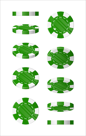 Green chips views cartoon style isolated Illustration